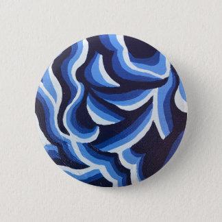 Chapa Redonda De 5 Cm Sombras del extracto azul de la onda