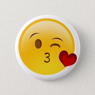 Chapa Redonda De 5 Cm Sople a un pegatina del emoji del beso