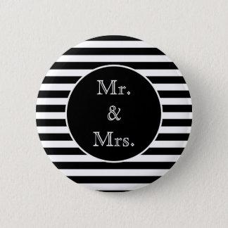 Chapa Redonda De 5 Cm Sr. y señora rayas blancos y negros