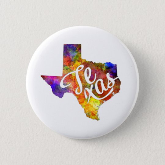 Chapa Redonda De 5 Cm Texas US State in watercolor text cut out