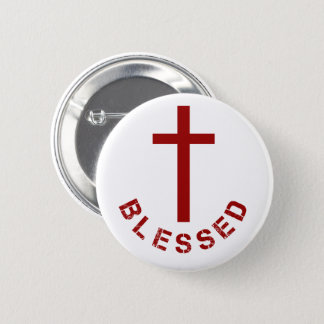 Chapa Redonda De 5 Cm Tipografía bendecida cristiano de la Cruz Roja