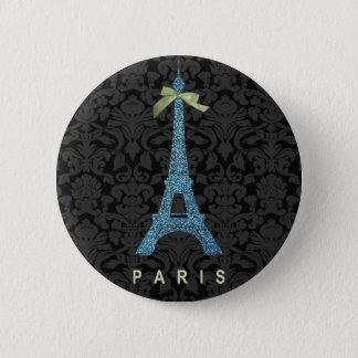Chapa Redonda De 5 Cm Torre Eiffel azul en falso brillo