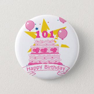 Chapa Redonda De 5 Cm Torta de cumpleaños de 101 años