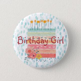 Chapa Redonda De 5 Cm Trullo del chica del cumpleaños de la torta de