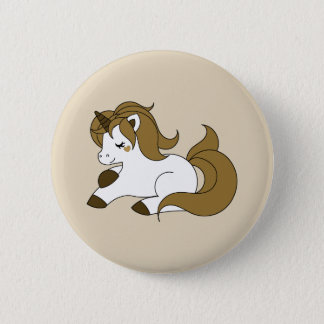 Chapa Redonda De 5 Cm Unicornio blanco y marrón