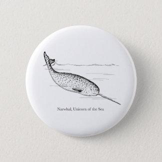 Chapa Redonda De 5 Cm Unicornio de la ballena de Narwhal del mar