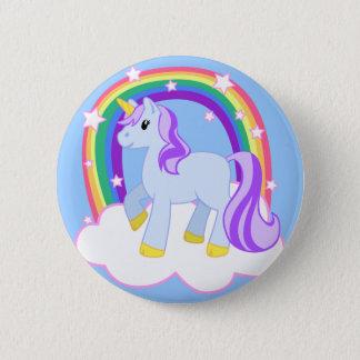 Chapa Redonda De 5 Cm Unicornio mágico lindo con el arco iris