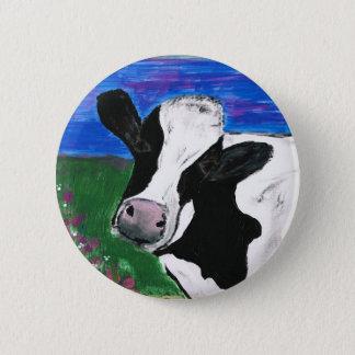 Chapa Redonda De 5 Cm Vaca, granja, animal, becerro rural, pintado a