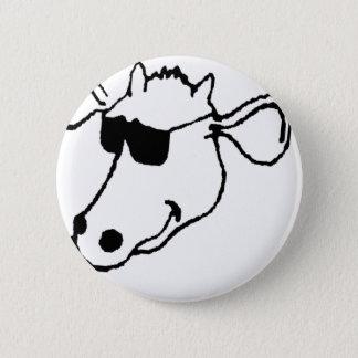 Chapa Redonda De 5 Cm Vaca que fuma con las gafas de sol
