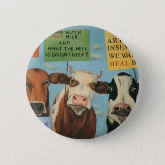 Chapa Redonda De 5 Cm Vacas en huelga