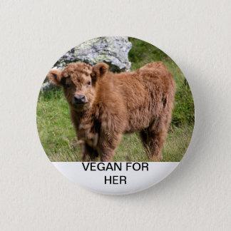 Chapa Redonda De 5 Cm Vegano para ella - vaca del bebé