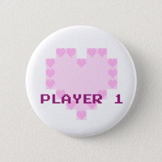 Chapa Redonda De 5 Cm Videojugadores en amor - jugador 1