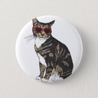 Chapa Redonda De 5 Cm Vidrios del corazón del gato que llevan