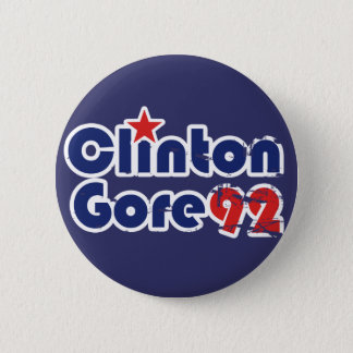 Chapa Redonda De 5 Cm Vintage 90s Clinton Gore 1992