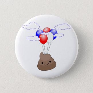 Chapa Redonda De 5 Cm Vuelo de Poo Emoji con los globos