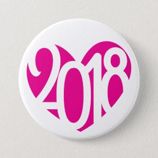 Chapa Redonda De 7 Cm 2018 botón/insignia del amor 2018 del Año Nuevo