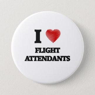 Chapa Redonda De 7 Cm Amo a asistentes de vuelo