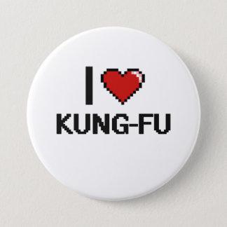 Chapa Redonda De 7 Cm Amo el diseño retro de Kung-Fu Digital