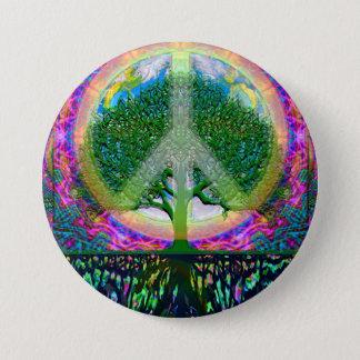 Chapa Redonda De 7 Cm Árbol de la unidad y de la paz de la vida