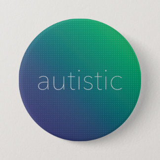 Chapa Redonda De 7 Cm Autístico - tono medio verde y azul