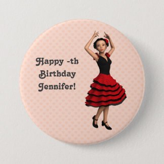 Chapa Redonda De 7 Cm Bailarín lindo del flamenco (personalizado)