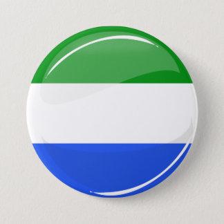 Chapa Redonda De 7 Cm Bandera redonda brillante del Sierra Leone