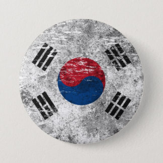 Chapa Redonda De 7 Cm Bandera surcoreana rascada y llevada