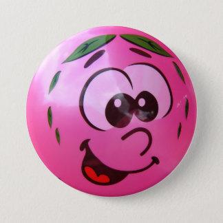 Chapa Redonda De 7 Cm Cara rosada del globo