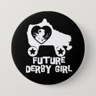 Chapa Redonda De 7 Cm Chica futuro de Derby, diseño del patinaje sobre