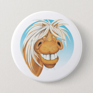 "Chapa Redonda De 7 Cm Compañero del caballo de Equi-toons ""Chappie"