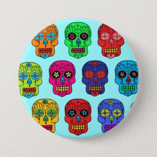 Chapa Redonda De 7 Cm Cráneos del azúcar del hombre y de la mujer
