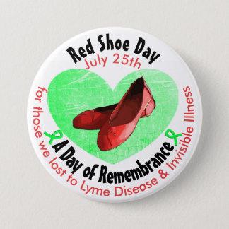 Chapa Redonda De 7 Cm Día rojo del zapato, un día de conmemoración