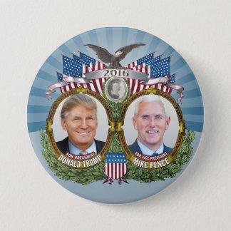 Chapa Redonda De 7 Cm Diseño azul de Donald Trump y de la foto de Jugate