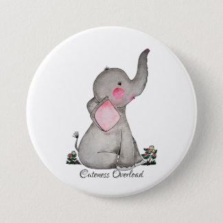Chapa Redonda De 7 Cm El elefante lindo del bebé de la acuarela con se