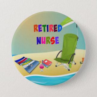Chapa Redonda De 7 Cm Enfermera jubilada, diversión en el Sun