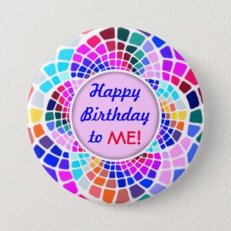 Chapa Redonda De 7 Cm Feliz cumpleaños del mosaico colorido a mí Pin