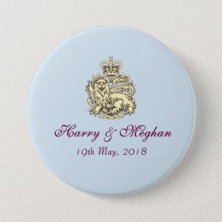 Chapa Redonda De 7 Cm Harry que se casa real y Meghan abotona (el azul)