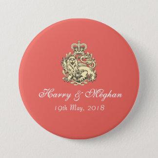 Chapa Redonda De 7 Cm Harry que se casa real y Meghan abotona (el coral)