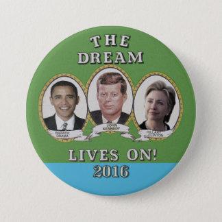 Chapa Redonda De 7 Cm Hillary Clinton, Barack Obama y John Kennedy