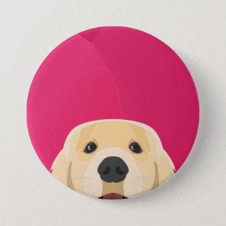 Chapa Redonda De 7 Cm Ilustracion Retriver de oro con el fondo rosado
