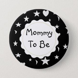 Chapa Redonda De 7 Cm La mamá a ser estrellas, lunas y corazón abotona