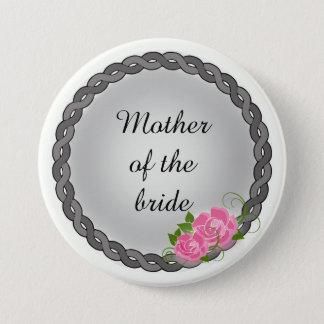 Chapa Redonda De 7 Cm Madre de la guirnalda de los rosas rosados/abuela