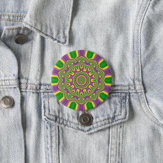 Chapa Redonda De 7 Cm Mandala púrpura amarilla verde del modelo del