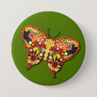 Chapa Redonda De 7 Cm Mariposa del VEGANO