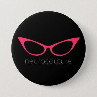 Chapa Redonda De 7 Cm Neurocouture - Pin rosado del logotipo de los