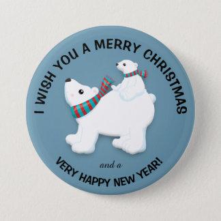 Chapa Redonda De 7 Cm Oso polar y Cub de la madre en Felices Navidad