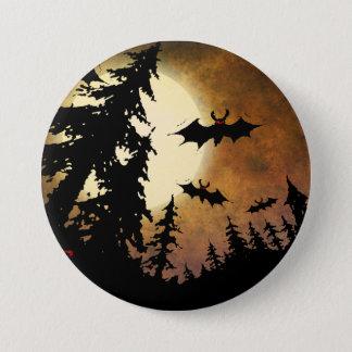 Chapa Redonda De 7 Cm Palos de Halloween, bosque fantasmagórico en la