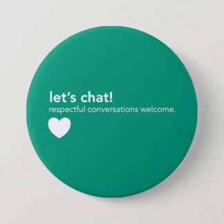 Chapa Redonda De 7 Cm Pin verde de la comunicación - charlemos