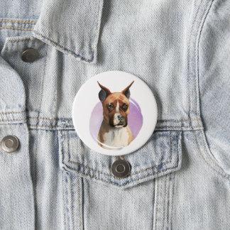 Chapa Redonda De 7 Cm Pintura de la acuarela del perro del boxeador