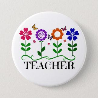 Chapa Redonda De 7 Cm Profesor, corazones y flores y mariposas bonitas